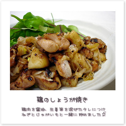 鶏肉を醤油、生姜等を混ぜたタレにつけねぎとじゃがいもと一緒に炒めました♪