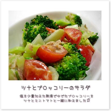塩を少量加えた熱湯でゆでたブロッコリーをツナとミニトマトと一緒に和えました♪