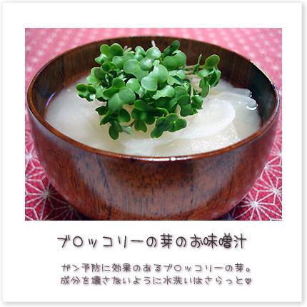 ブロッコリーの芽のお味噌汁。ガン予防に効果のあるブロッコリーの芽。成分を壊さないように水洗いはさらっと。