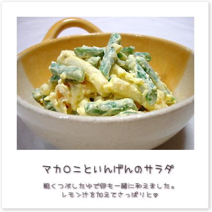 マカロニといんげんのサラダ。粗くつぶしたゆで卵も一緒に和えました。レモン汁を加えてさっぱりと。
