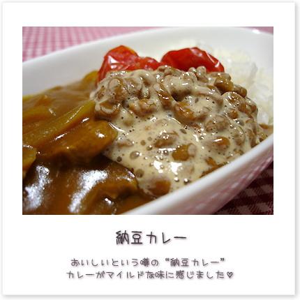 """納豆カレー♪おいしいという噂の""""納豆カレー""""カレーがマイルドな味に感じました。"""