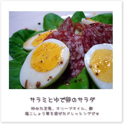 サラミとゆで卵のサラダ♪炒めた玉葱、オリーブオイル、酢、塩こしょう等を混ぜたドレッシングで