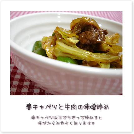 春キャベツと牛肉の味噌炒め♪春キャベツは手でちぎって炒めると味がからみやすくなります。