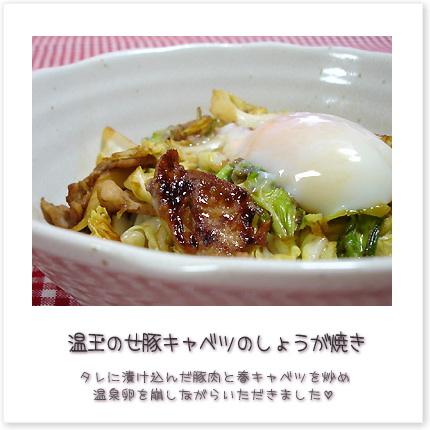 温玉のせ豚キャベツのしょうが焼き♪タレに漬け込んだ豚肉と春キャベツを炒め、温泉卵を崩しながらいただきました♪