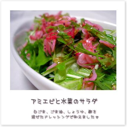 アミエビと水菜のサラダ♪白ごま、ごま油、しょうゆ、酢を混ぜたドレッシングで和えました。