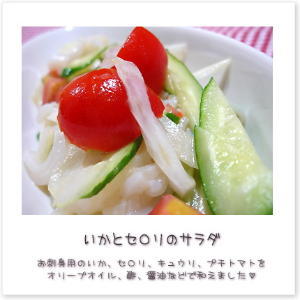 いかとセロリのサラダ。お刺身用のいか、セロリ、キュウリ、プチトマトをオリーブオイル、酢、醤油などで和えました。