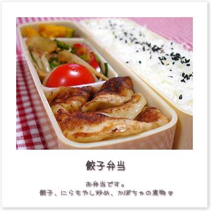 餃子弁当♪お弁当です。餃子、にらもやし炒め、かぼちゃの煮物。