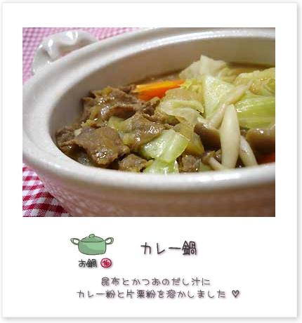 カレー鍋♪昆布とかつおのだし汁にカレー粉と片栗粉を溶かしました。