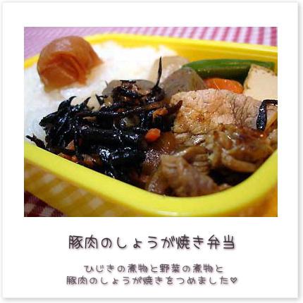 豚肉のしょうが焼き弁当。ひじきの煮物と野菜の煮物と豚肉のしょうが焼きをつめました♪