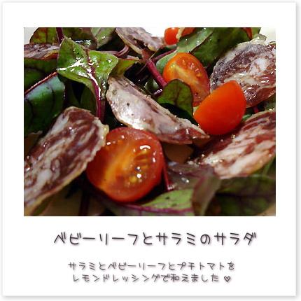 ベビーリーフとサラミのサラダ♪サラミとベビーリーフとプチトマトをレモンドレッシングで和えました。