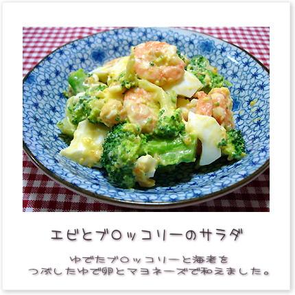 エビとブロッコリーのサラダ♪ゆでたブロッコリーと海老をつぶしたゆで卵とマヨネーズで和えました。
