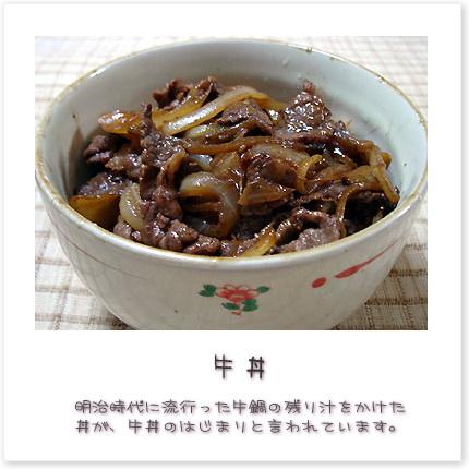 明治時代に流行った牛鍋の残り汁をかけた丼が、牛丼のはじまりと言われています。